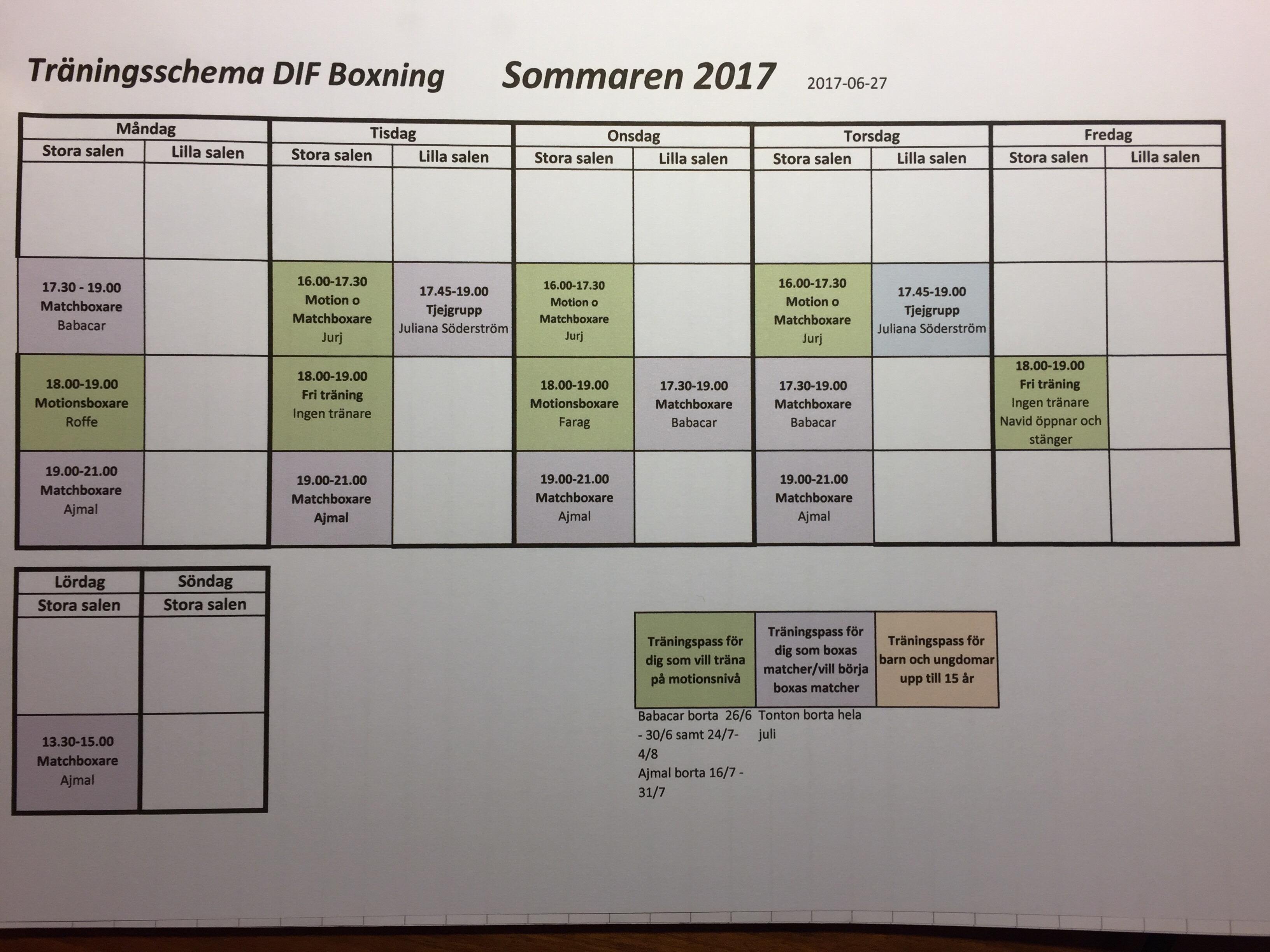 Sommarträningsschema!