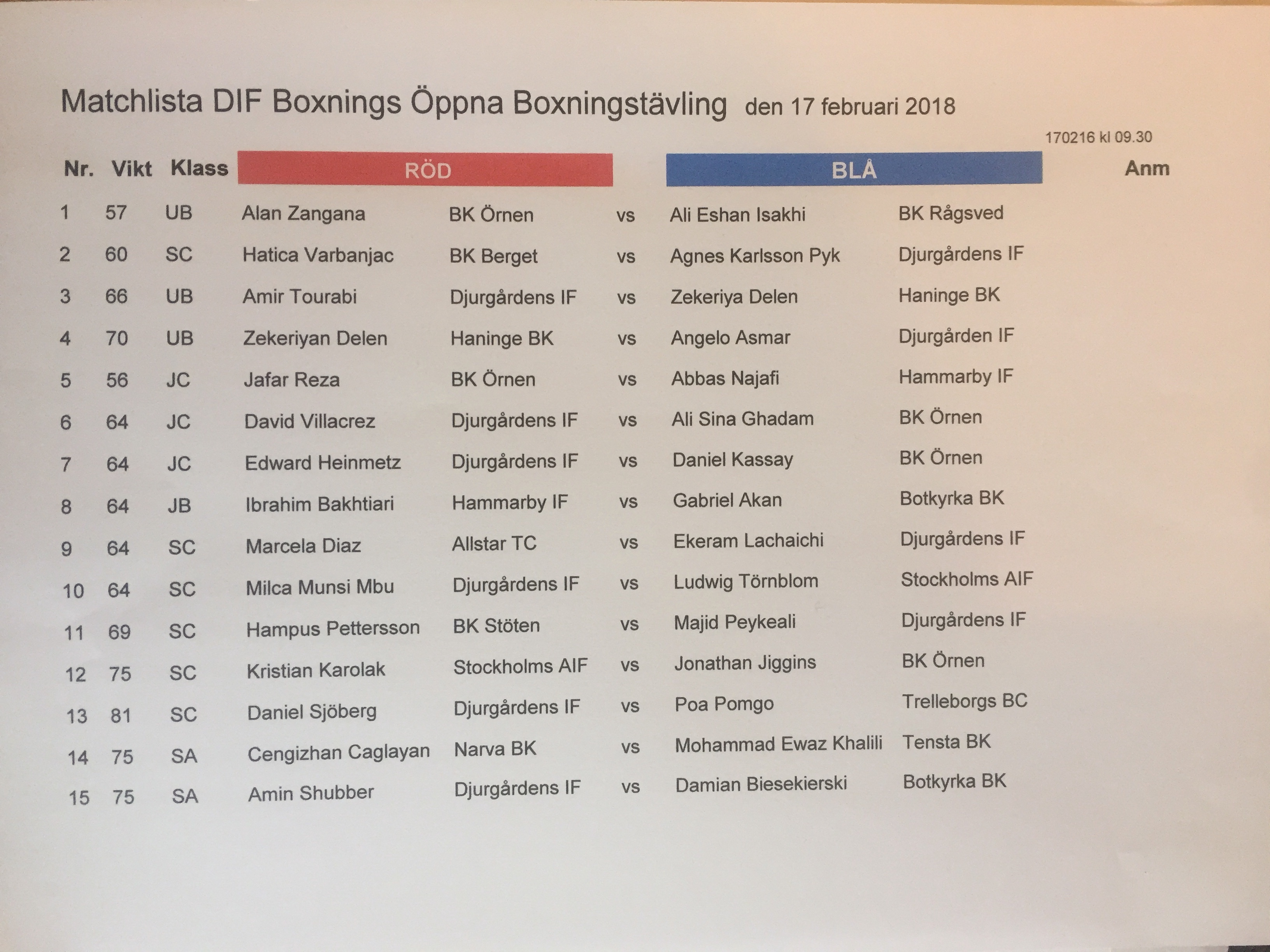 Preliminär matchlista till morgondagens boxningstävling!
