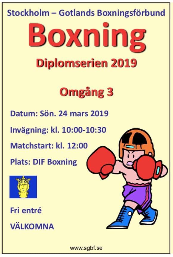 Diplomboxningstävling hos Djurgården den 24 mars