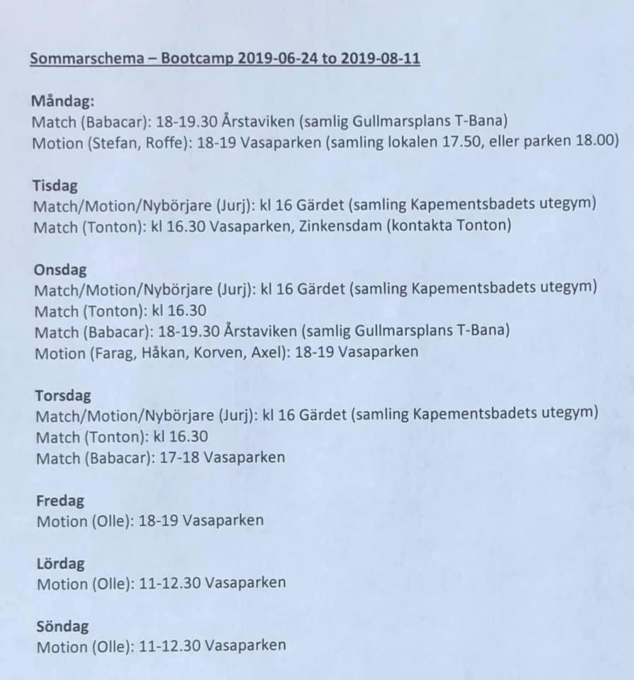 Sommarschema – Bootcamp 24 juni – 11 augusti.