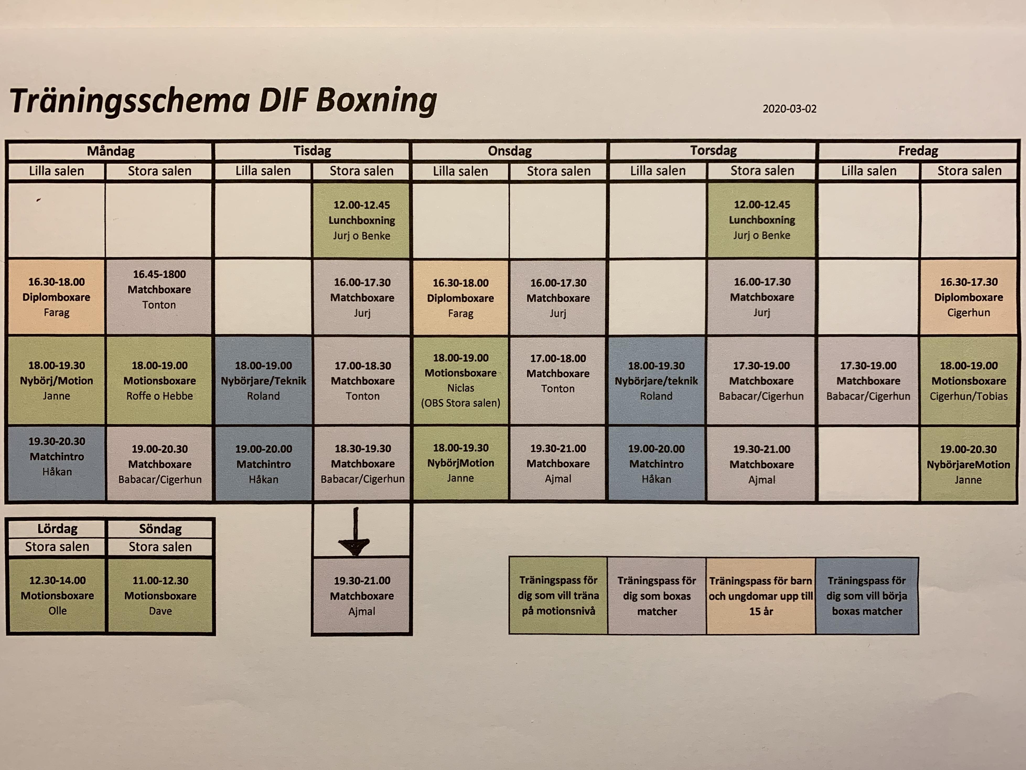 Något reviderat träningsschema