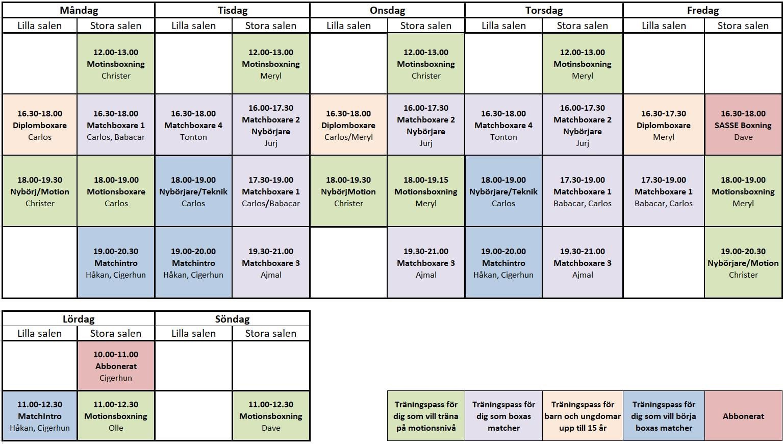 Nytt träningsschema för våren 2021
